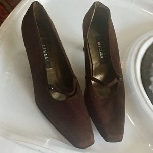Stuart Weitzman brown suede leather shoe Maryjane
